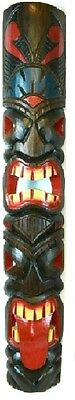 "40"" CARVED Tribal Totem 2 FACE Tiki Tongue Wood Mask Patio Tropical Bar Decor"