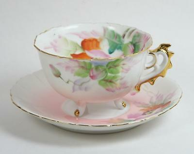 Vintage Tea Cup Hand Painted Tripod Floral Pink and White Footed Ornate Handle