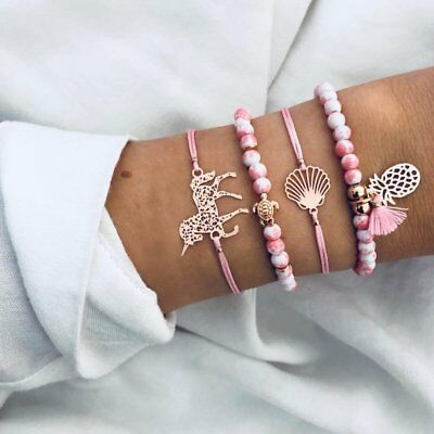 4ps/set Women Natural Stone Beaded Bracelets Horse Tassel Charm Rope Pink Gifts