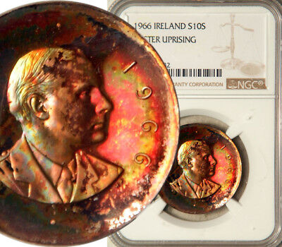 Ngc Proof-65 Ireland Silver 10 Shillings 1966 (Easter Uprising) Colorful Beauty!