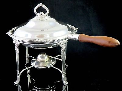 Vintage ALEX CLARK LONDON Silverplate CHAFING DISH W/LINER TRAY Stand & Burner