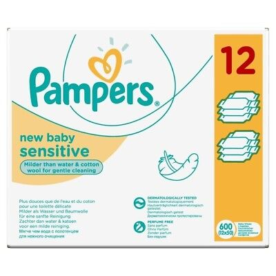 12 x 50 pack Pampers Sensitive New Baby Wipes -  milder than water & cotton wool