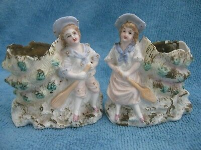 rare PAIR antique French bisque SPILL VASES - Sailor BOY & GIRL shell form vase
