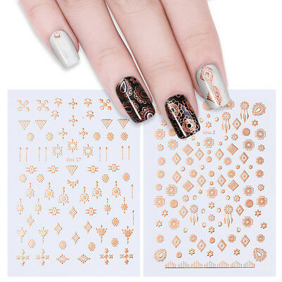 Holographic Nail Stickers Gold Silver 3D Leaf Nail Art Manicure Transfer Decals