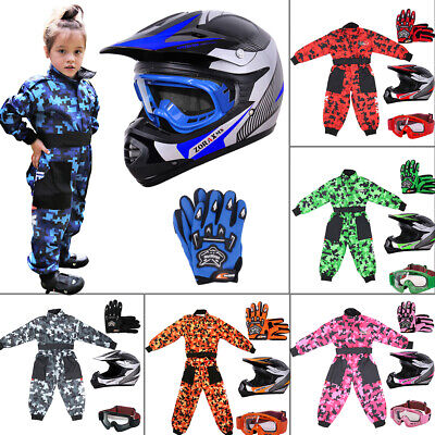 Kids Motocross Helmet Childrens Junior Camo Suit Goggles Gloves Motorbike SET