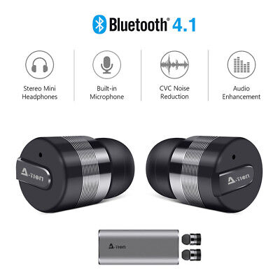 A_TION Wireless Bluetooth 4.1 Headphones Earbuds Noise Reduction Support SIRI US
