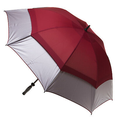 Clifton Extra Strength Vented Hurricane Golf Umbrella - Silver & Burgundy