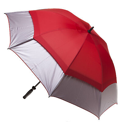 Clifton Extra Strength Vented Hurricane Golf Umbrella -Silver & Red