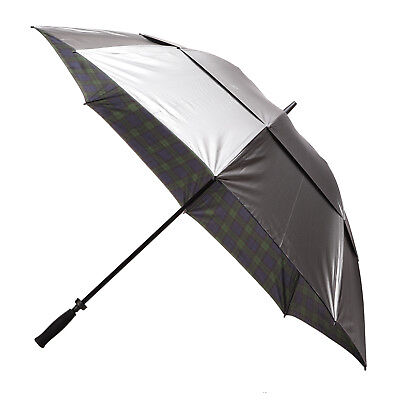 Clifton Windpro Vented Silver Coated Golf Umbrella - Black Watch Tartan Under
