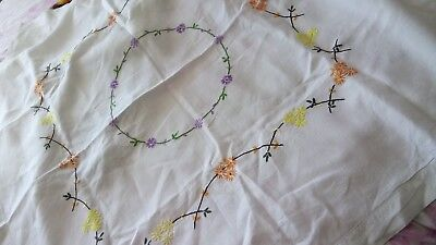 Beautiful vintage hand embroidered linen table cloth yellow orange purple flower