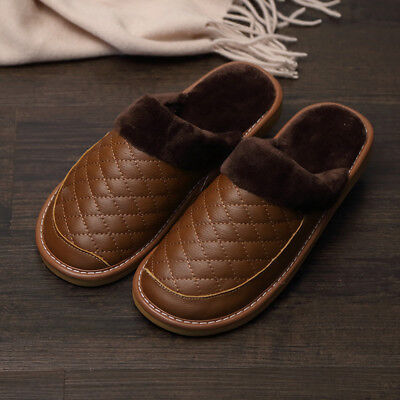 Men's Winter Warm Real Leather Slippers Indoor Home Waterproof Comfy Soft Shoes