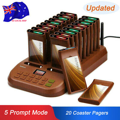 Wireless Restaurant Guest Call Paging Queuing System Transmitter w/20*Pagers AU