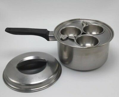 Vintage EKCO FLINT Stainless Steel 2 Quart Sauce Pan / Egg Poacher With Lid