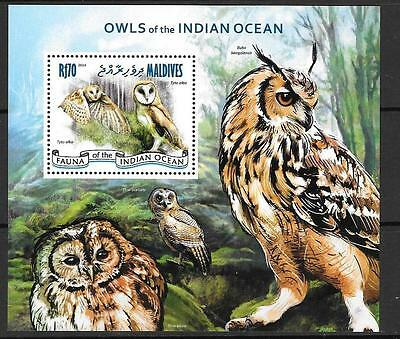 Maldive Islands 2014 Owls Of The Indian Ocean M/S Mnh