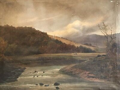Large Antique English Oil On Canvas To Restore - Gushing River Landscape & Hills