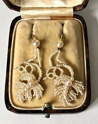 Antique Georgian/Victorian 9CT Gold SEED PEARL on MOP Drop Dangle Earrings BOXED