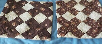 """2 vintage white & brown cotton hand quilted throw pillows 9"""" & 8"""" 1900's? fabric"""