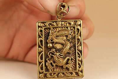 Cool Rare Chinese Old brass Hand Carved dragon Statue Pendant netsuke gift