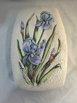 Large McNels Molded Hand Painted Ceramic Covered Dish w Iris Orchard Lid AMAZING