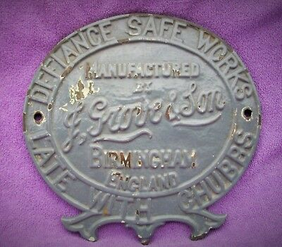 Grove & Sons Vintage Brass Safe Plate With Chubb - Genuine Item - Painted