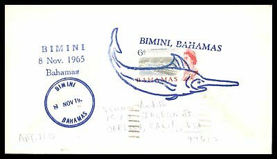 Bahamas Bimini Swordfish Fancy Cancel 1965 In Blue