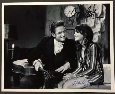 Johnny Cash Linda Ronstadt Hand Signed 8 1/2 x 11 Photo Country Autograph + COA