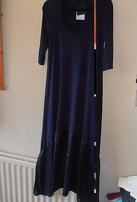 BNWT Join Clothes Jersey Maxi Dress with Luxe Panel at Hem Navy Blue Small