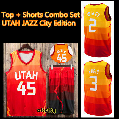 UTAH JAZZ Donovan Mitchell Rudy Gobert Ricky Rubio NBA Jersey Men Kid Top Shorts
