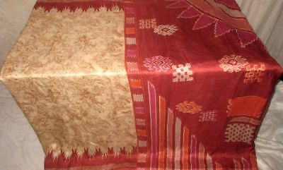Cream Maroon Pure Silk 4 yard Vintage Sari Gift for Mother Lovely actress #9AS37
