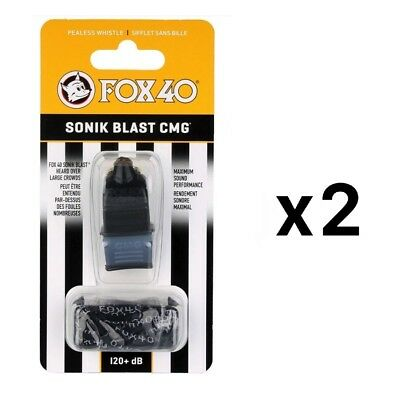 Fox 40 Sonik Blast CMG 2-Chamber Pealess Whistle with Lanyard, Black (2-Pack)