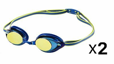 Speedo Jr. Vanquisher 2.0 Mirrored Swim Anti-Fog Racing Goggles - Blue (2-Pack)