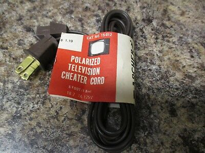 Polarized Television Cheater Cord 6' 15-012 7A 125V 18/2 Nos  Fast/free Shipping