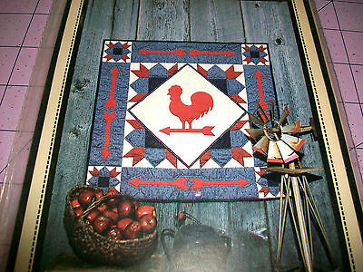 """Country Weather Vane Rooster Pattern For 36"""" Wall Quilt Or Applique  - 1982"""
