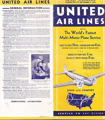 United Air Lines Latest Schedules Corrected To September 1, 1933