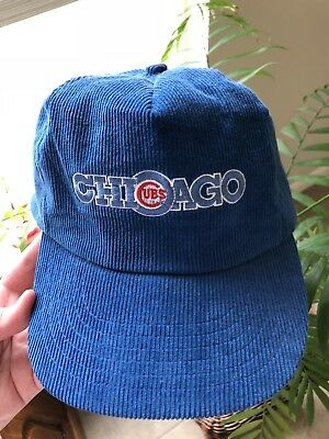 Chicago Cubs Blue Corduroy Baseball Hat Official MLB Snapback Cap Vintage 78e86aca164