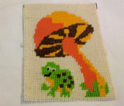 Adorable Vintage 1970s Finished Needlepoint Mushroom & Frog Orange Green Brown