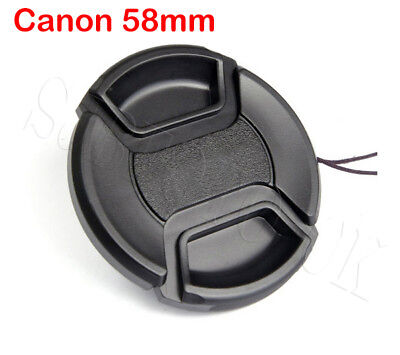 2 Pcs 58MM CENTRE-PINCH CLIP-ON SNAP-ON FRONT LENS CAP COVER FOR CANON EOS