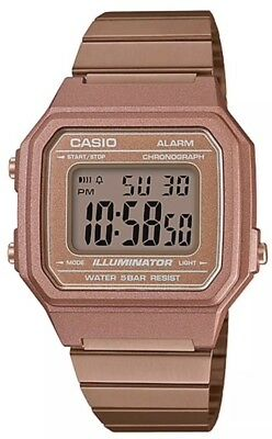 New Casio Rose Gold Retro Digital Illuminator Unisex Watch B650wc-5A