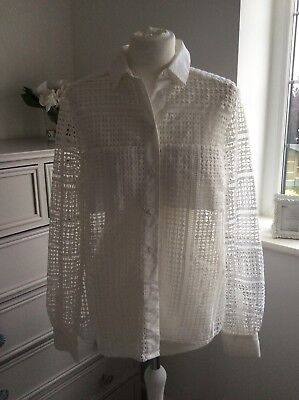 French Connection Cream Cut Out Fretwork Lace Shirt 12