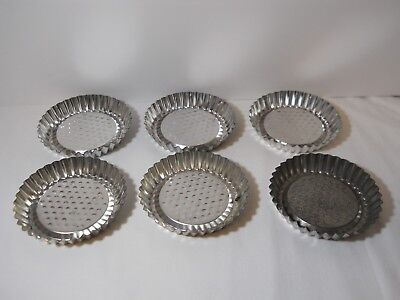 Vtg Small Mini Jello Candy Tart Molds Lot (6) Round Fluted Soap Crafts Primitive