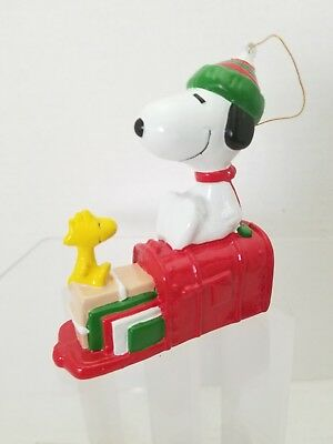 peanuts snoopy and woodstock christmas holiday ornament mail box - Snoopy And Woodstock Christmas