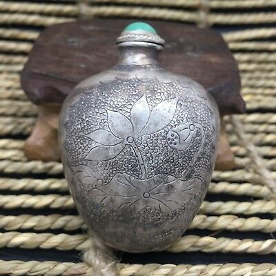 Antique Old Chinese Rare Sterling Silver Handwork Lotus Collectible Snuff Bottle