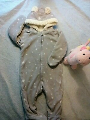 f60b9f587 Baby Bunting Snowsuit Old Navy 6 12 months Bear Ears and Stars Fleece and  Sherpa