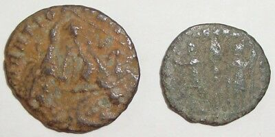 Lot Of 2 Ancient Roman Coins Uncleaned Authentic With Visible Details