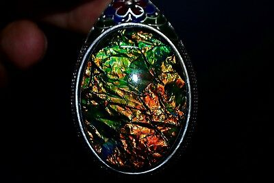 Antique Collectible Chinese Opal & old Tibet Silver handwork Rare Noble Pendant