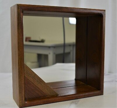 Vintage Small Square Solid Wood Wall Mount Mirror