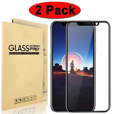 2Pk Full Coverage 3D Tempered Glass Screen Protector for iPhone X XR Xs Max Lot