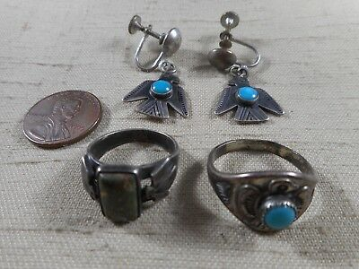 Collection of FRED HARVEY era THUNDERBIRD jewelry with turquoise stones