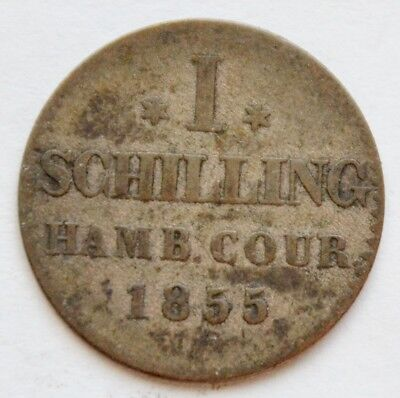 German states, Free city of Hamburg 1855, 1 Schilling 1855,  silver coin