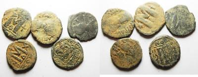 ZURQIEH -as8063- BYZANTINE EMPIRE. LOT OF 5 BRONZE FOLLIS COINS.